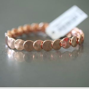 JCREW ROSE GOLD STACKED CIRCLE STRETCH BRACELET